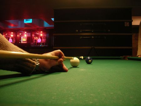 sports bar: A Shot - breaking the pool balls in the pub