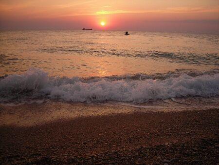 splutter: ship and bird on sunset Stock Photo