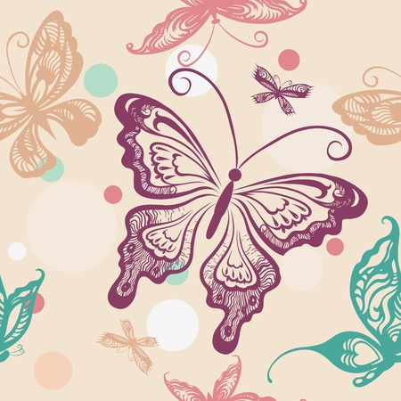 Seamless pattern with hand drawn butterflies Stock Vector - 9931203