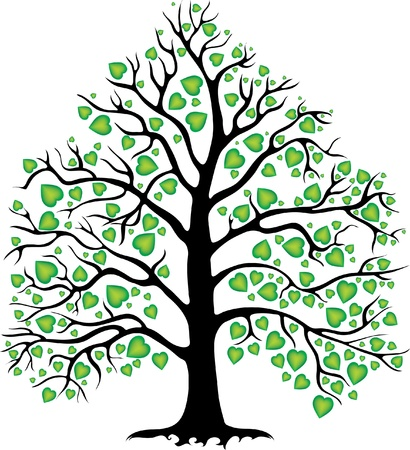 decorative tree with heart-shaped leaves Stock Vector - 9931204
