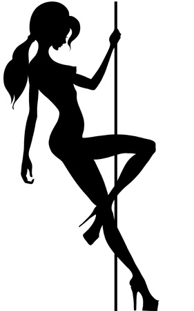 beautiful silhouette of young women dancing a striptease Stock Vector - 9931196