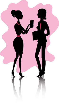 Silhouette of young women in office Illustration