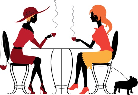 Two women in the cafe Illustration