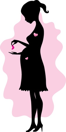 silhouette of a young pregnant woman with baby socks in her hands Illustration