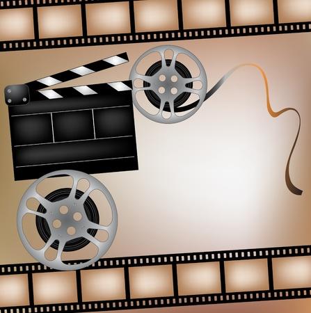clap board: De fondo con cintas cinematogr�ficas y clubboard