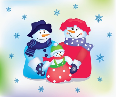 Happy snowman family with snowflakes Stock Vector - 11042275