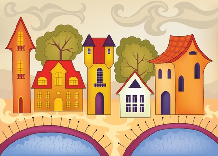 residences: vector illustration of funny little houses in a bright color scheme