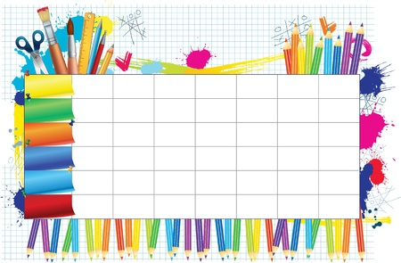 crayon de couleurs: Calendrier scolaire pour les �tudiants s `notes Illustration