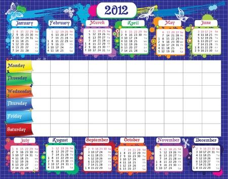 calendario escolar: Escuela de calendario para las notas de los estudiantes y el calendario Vectores