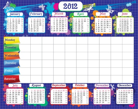 School timetable for students notes and calendar  Illustration