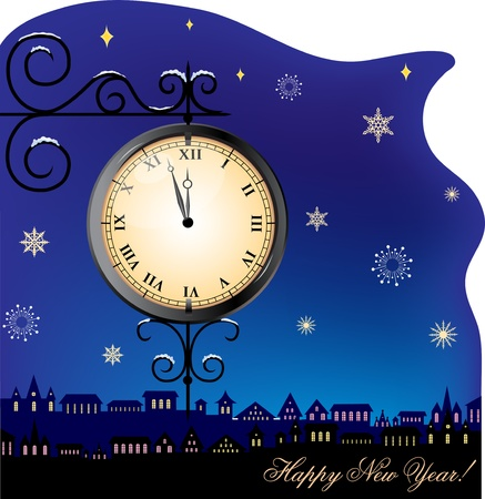 Christmas card with a street clock with falling snow Illustration