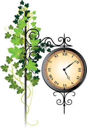 Street clock braided with ivy Vector