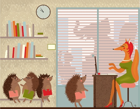Allegory for the modern office and its inhabitants Illustration