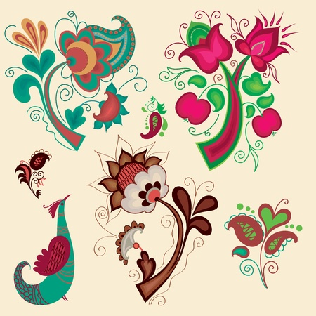 Collection of russian pattern elements for design Vector