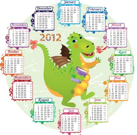 Round calendar for 2012 and a dragon in the middle Vector