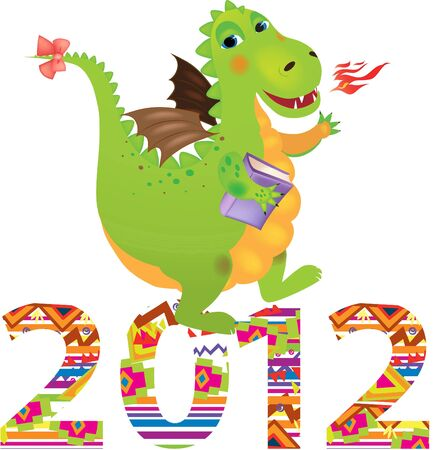 Illustration of a cute dragon - a symbol of 2012 Vector