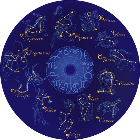 zodiac signs: Zodiac with constellations and zodiac signs Illustration