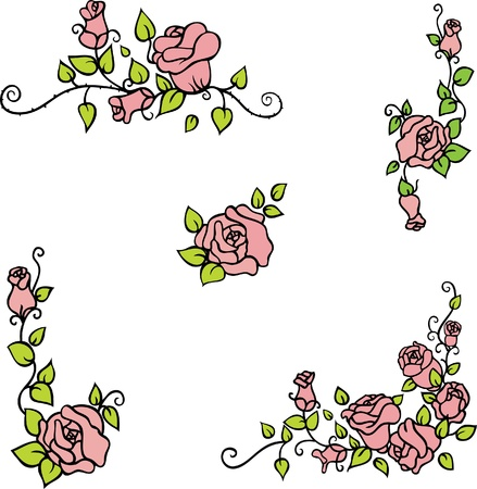 Set of elements decorative roses for design Stock Vector - 11418953