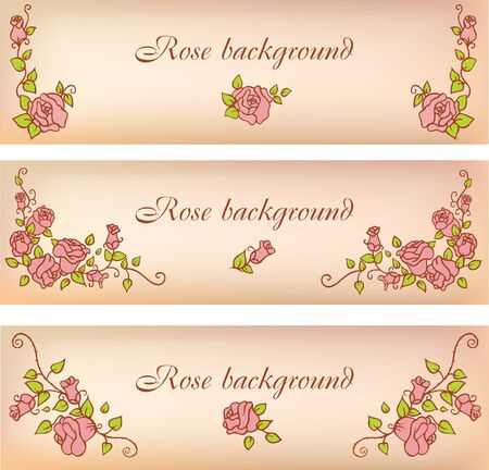 Set of banners with decorative roses