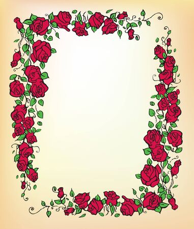 Decorative frame with red roses 版權商用圖片 - 11418959