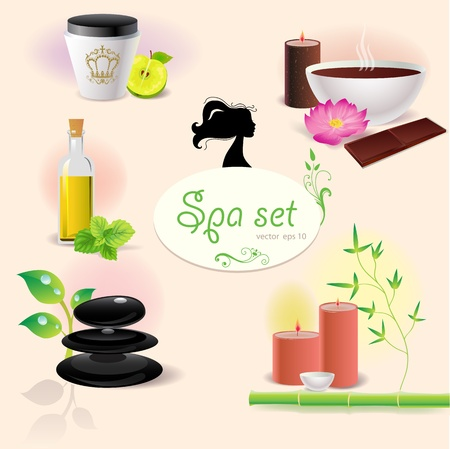 Set of illustration of spa elements