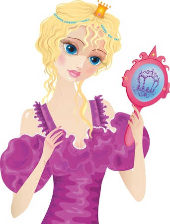 hand mirror: Young blond hair princess with mirror in her hands
