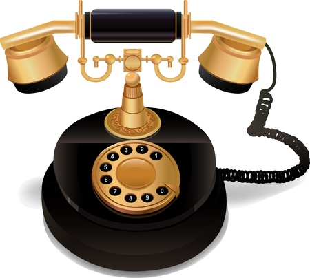 telephone cable: Black vintage phone with a gold handle and a dial on a white background. vector 10 Illustration