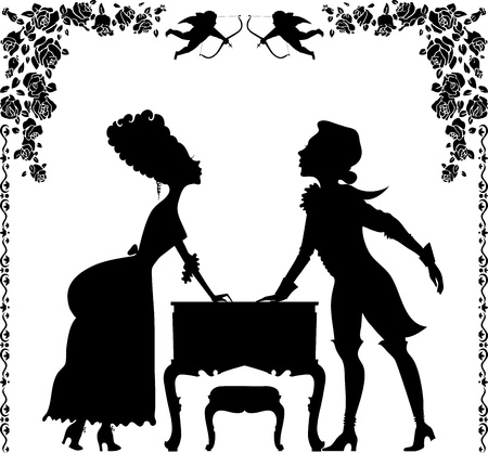 Before the kiss. Vignette with a silhouette girl and boy in the old style Stock Vector - 11932388