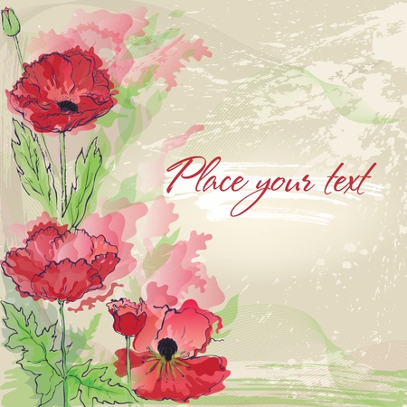 Background with  poppies in watercolor effect Vector