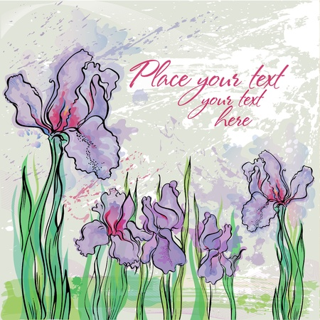 Background with Irises in watercolor effect in pastel colors