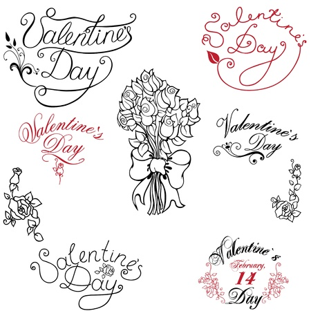 set of elements, patterns and inscriptions for Valentine Stock Vector - 11965373