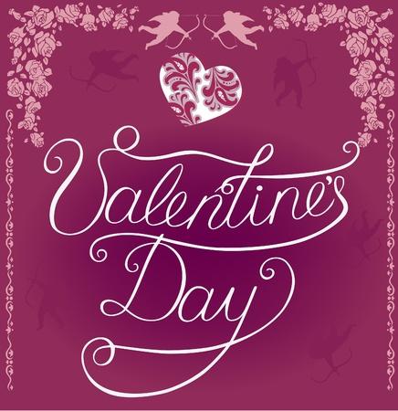 inscription Happy Valentine Vector