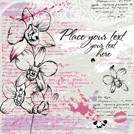 Textured background with Orchid in watercolor effect in pastel colors Ilustração
