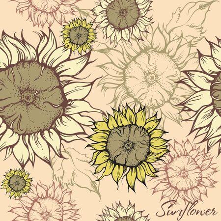 sun flower: Seamless pattern - field of sunflowers