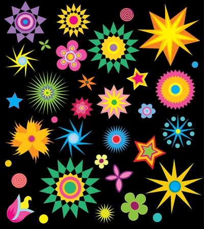Set decoration elements with flowers and stars Stock Vector - 12145435