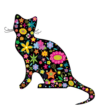 silueta gato: ilustración de la silueta de un gato con flores y las estrellas en el fondo blanco