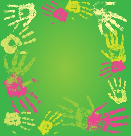 Vector decorative frame made from print human hands