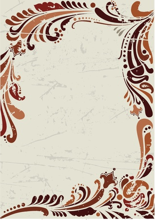 Floral grunge background with pattern in brown coloring Stock Vector - 12145448