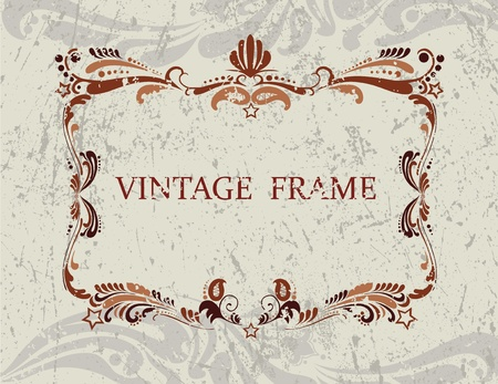 Floral vintage frame with pattern in brown coloring Stock Vector - 12145449
