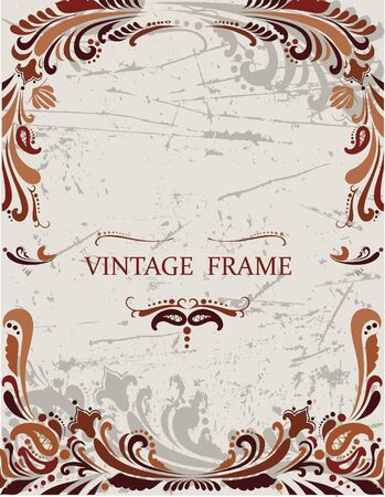Floral vintage frame with pattern in brown coloring Stock Vector - 12145447