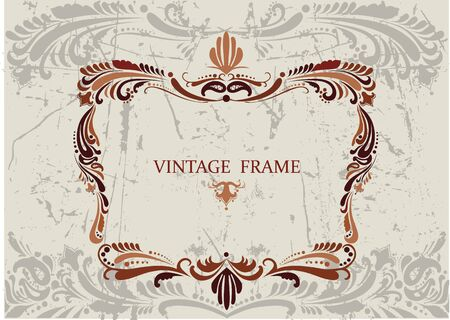 Floral vintage frame with pattern in brown coloring Stock Vector - 12145446