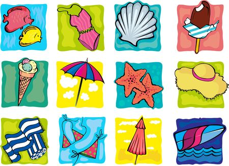 Collection of summer decorative icons Vector
