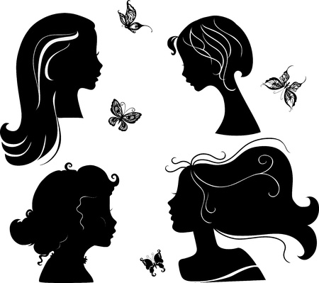 Set of silhouettes girls Vector