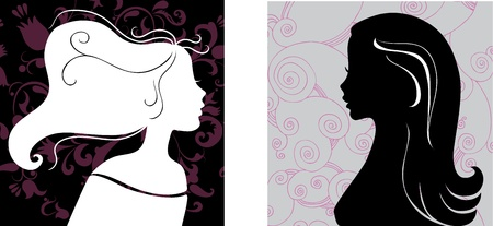 Two female silhouettes on pattern background Vector