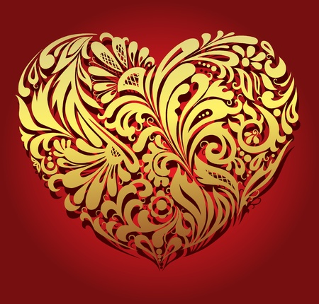 Illustration of golden heart, made from floral pattern� EPS 8  Vector