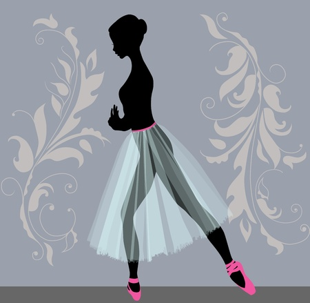 Silhouette of a young ballerina in profile Vector