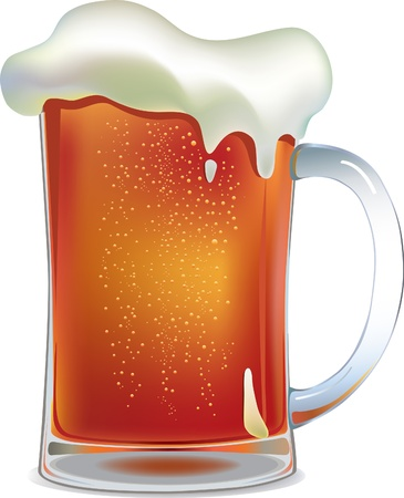 beer pint: Dark beer mug. Vector illustration made with mesh