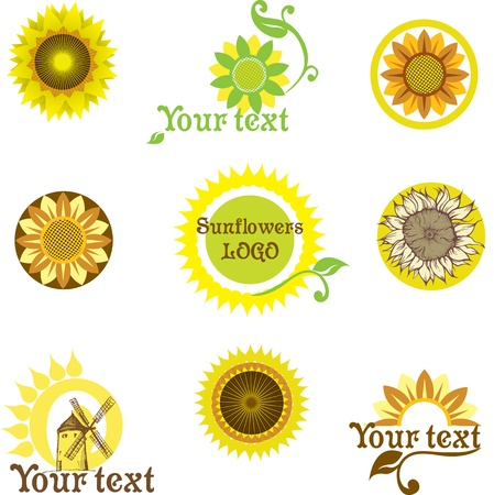 set prepared for the logo depicting a stylized sunflower Stock Vector - 12815191