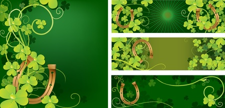 Set of backgrounds with horseshore and clover Stock Vector - 12815235