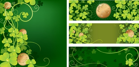 Set of backgrounds with clover and coins Stock Vector - 12815236
